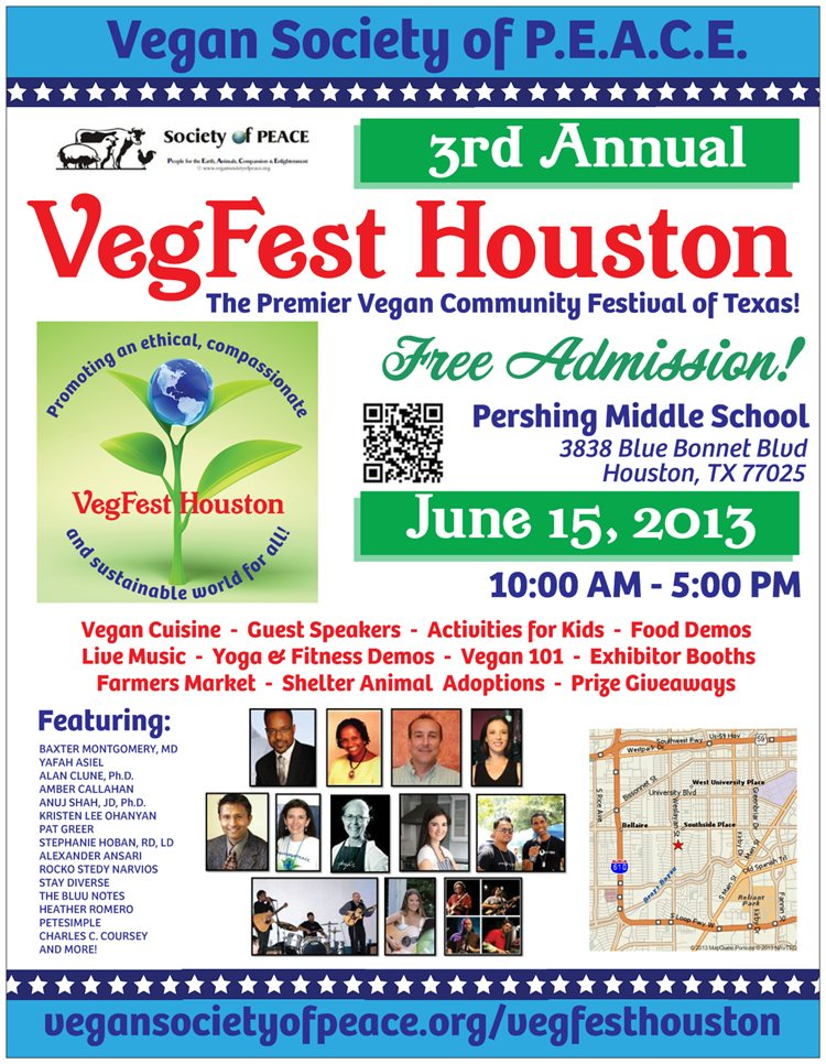 2013 Vegan Society of PEACE VegFest Houston FLYER