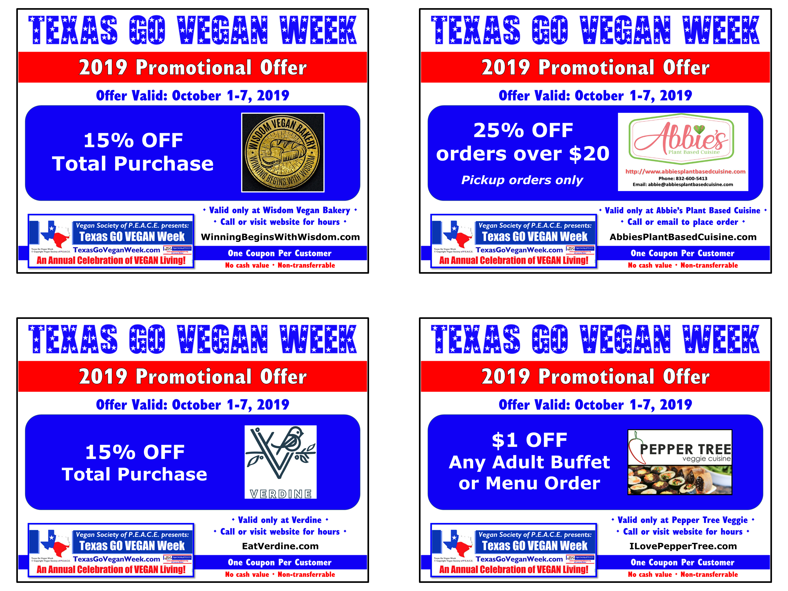 Texas Go Vegan Week 2019 Coupons 5-8