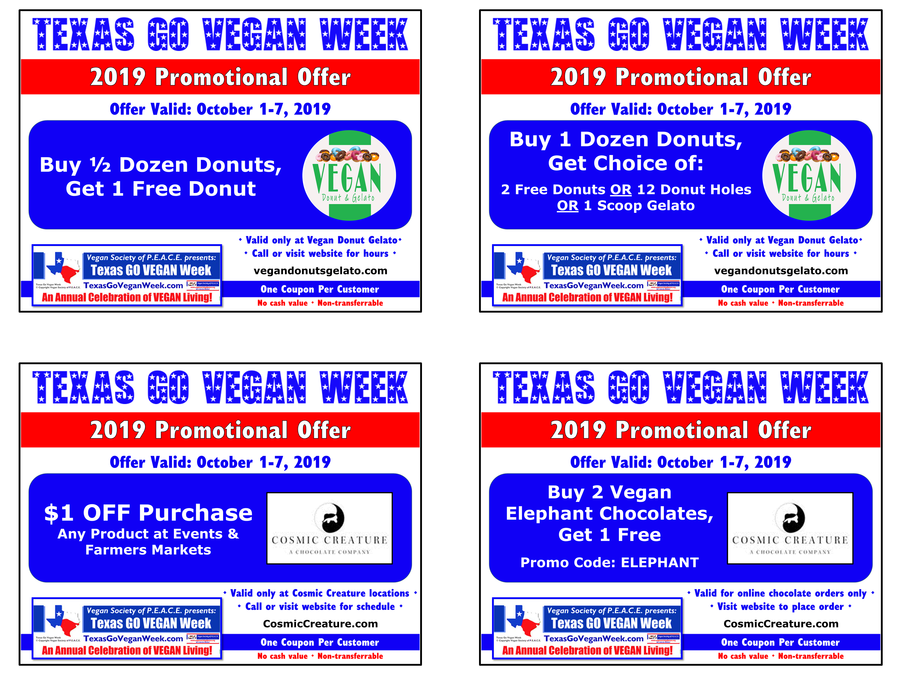 Texas Go Vegan Week 2019 Coupons 9-12
