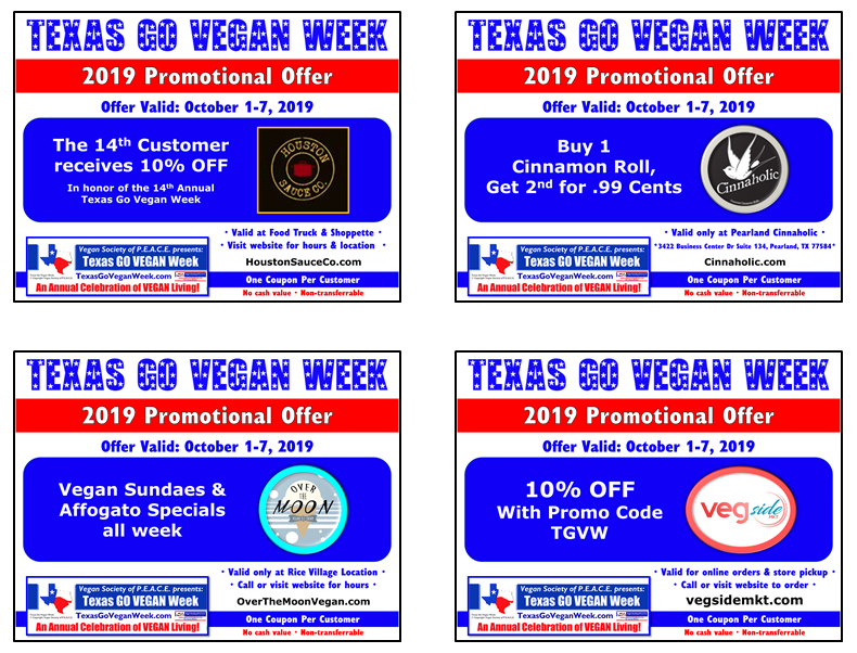 Texas Go Vegan Week 2019 Coupons 17-20