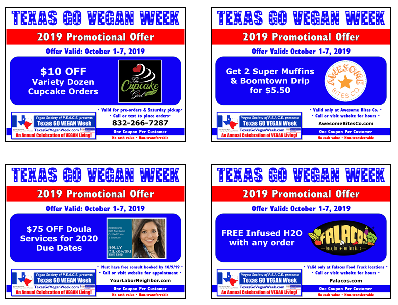 Texas Go Vegan Week 2019 Coupons 21-24