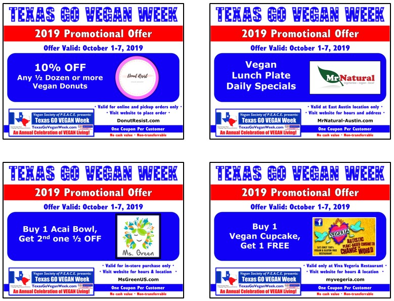 Texas Go VEgan Week 2019 Coupons 13 16