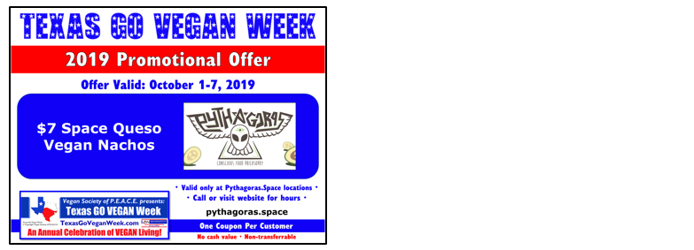 Texas Go Vegan Week 2019 Coupon 29