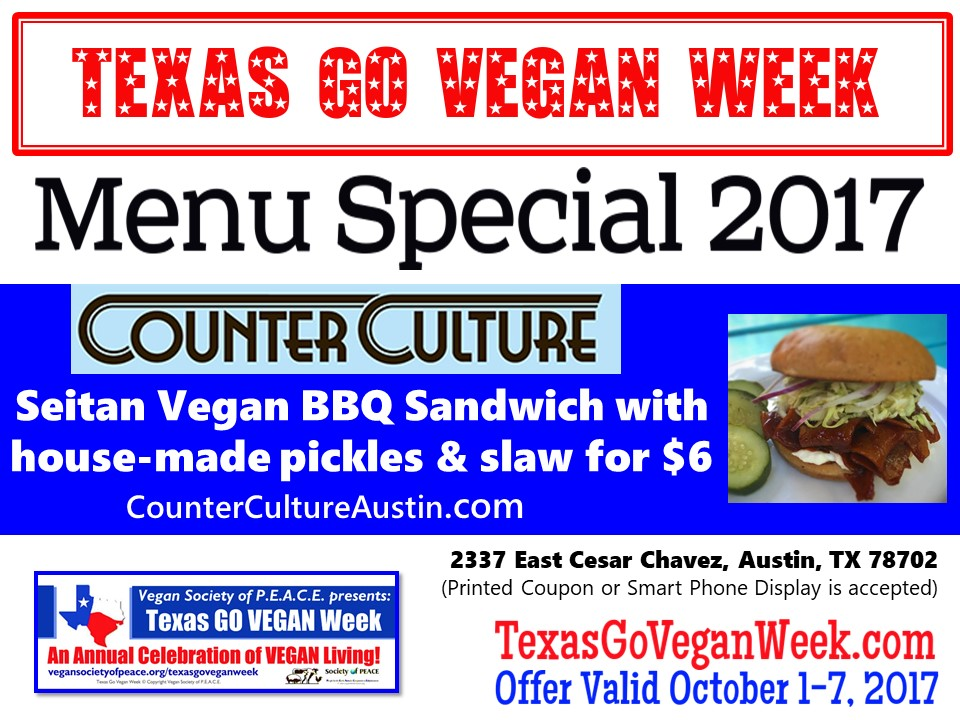 Counter Culture Austin 2017 Texas Go Vegan Week Menu