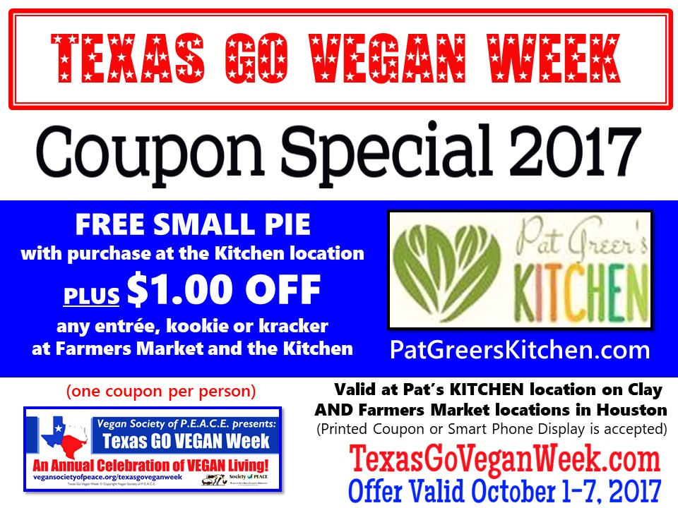 Pat Greer Kitchen 2017 Texas Go Vegan Week Coupon