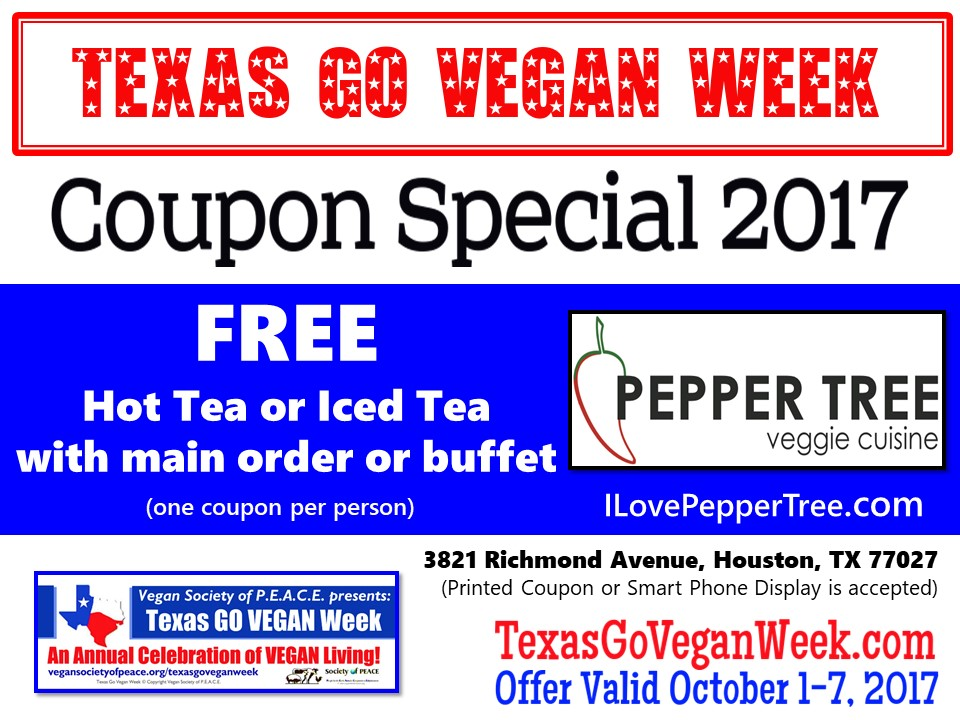 Pepper Tree 2017 Texas Go Vegan Week Coupon Special