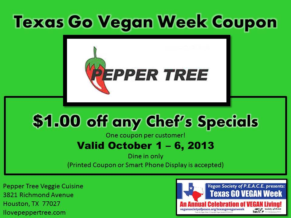 Pepper Tree TXGVW 2013 Coupon
