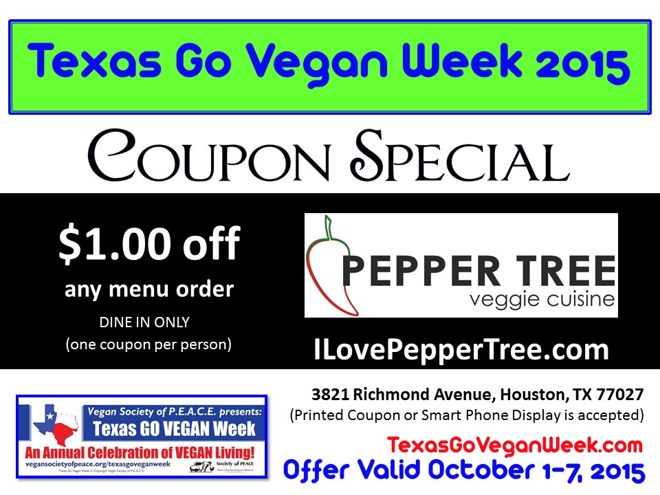 Pepper Tree Texas Go Vegan Week 2015