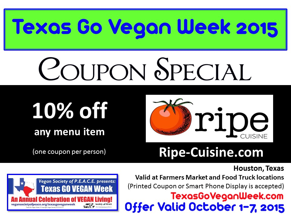 Ripe Cuisine Texas Go Vegan Week 2015