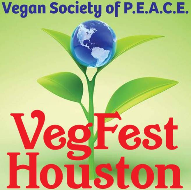 VegFest Houston Vegan Society of PEACE awesome logo