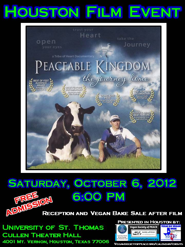Vegan Society of PEACE Houston Film Peaceable Kingdom