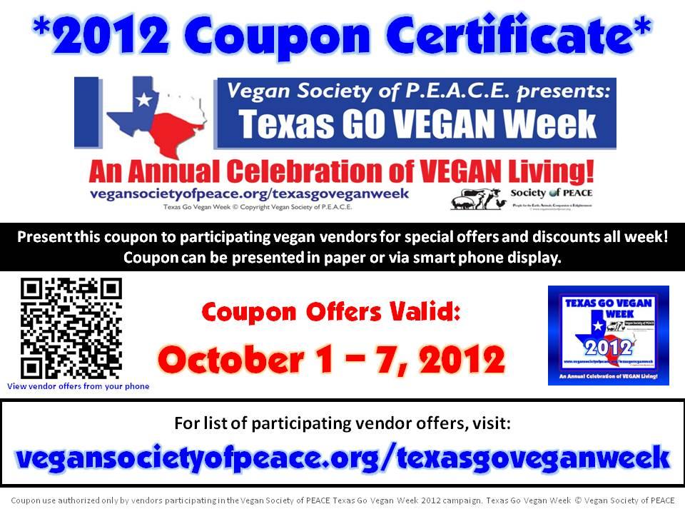 Vegan Society of PEACE Texas Go Vegan Week Coupon 2012